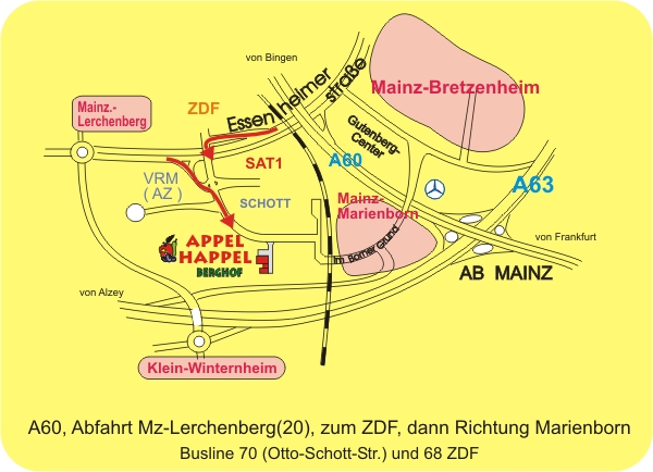 Anfahrtsskizze zum Appel Happel Hof auf dem Lerchenberg in Mainz