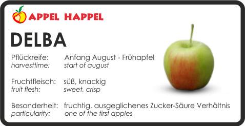 Apfel Delba - schmeckt süß und knackig. Pflückreife Anfang August