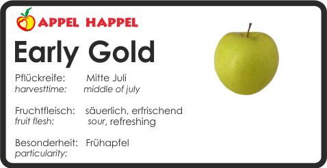 Apfel Early Gold - schmeckt säuerlich und erfrischend. Pflückreife Mitte Juli