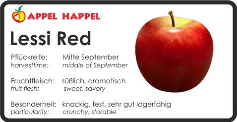 Apfel Lessi Red - schmeckt süß und aromatisch. Pflückreife Mitte September
