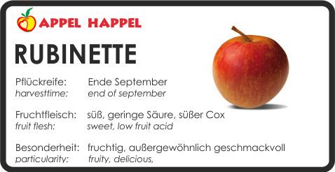 Apfel Rubinette - schmeckt süß und hat geringe Säure. Pflückreife Ende September
