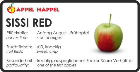 Apfel Sissi Red - schmeckt süß und knackig. Pflückreife Anfang August