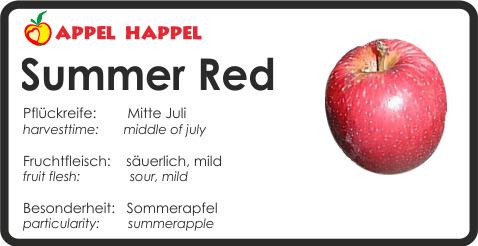Apfel Summer Red - schmeckt säuerlich und mild. Pflückreife Mitte Juli