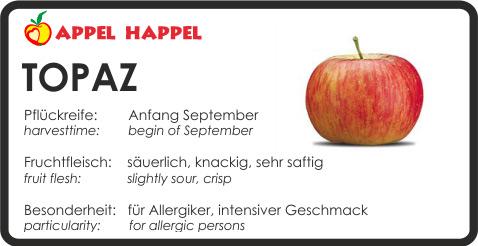 Apfel Topaz - schmeckt säuerlich und knackig. Pflückreife Anfang September