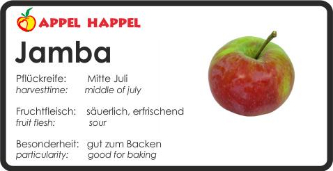 Apfel Jamba - schmeckt säuerlich und erfrischend. Pflückreife Mitte Juli