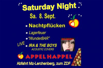 Blaues Plakat Saturday Night Nachtpflücken bei Appel Happel in Lerchenberg